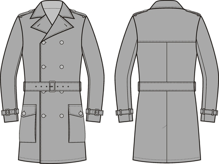 garment: Vector illustration of mens double-breasted trench coat. Front and back views