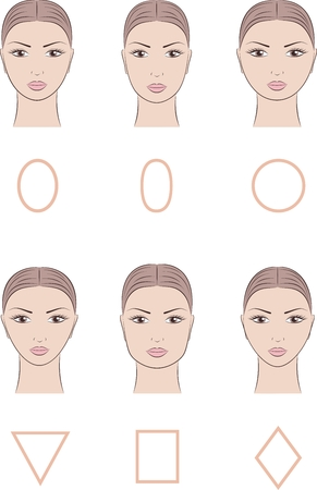 Vector illustration of womens face. Different face shapes
