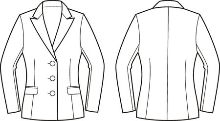 garment: Vector illustration of womens business jacket. Front and back views