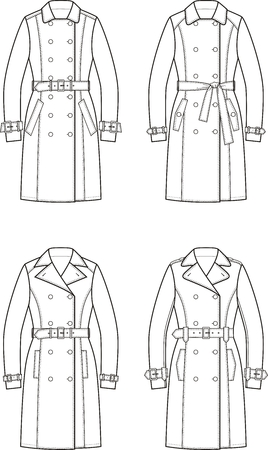 trench: Vector illustration. Set of womens trench coats