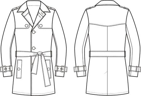trench coat: Vector illustration of mens trench coat. Front and back views Illustration