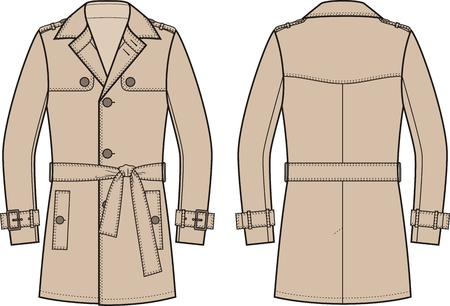 garments: Vector illustration of mens trench coat. Front and back views Illustration