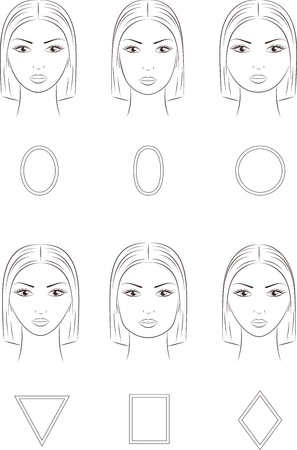 Vector illustration of women's face. Different face shapes  イラスト・ベクター素材