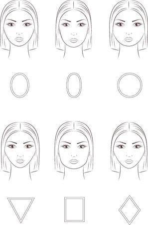 ilustracji wektorowych z twarzą damskiej. Różne kształty twarzy