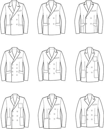 Illustrazione vettoriale di rivestimento di affari doppiopetto da uomo Vettoriali