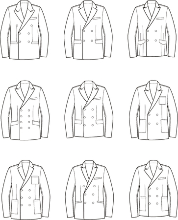 pocket size: Vector illustration of mens double-breasted business jacket