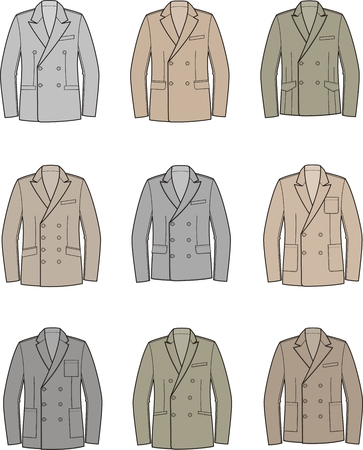 lapel: Vector illustration of mens double-breasted business jacket