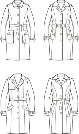 garment: Vector illustration. Set of womens trench coats