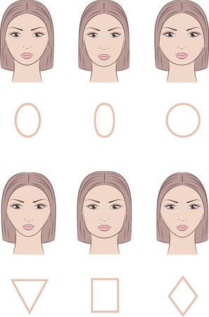 skin color: Vector illustration of womens face. Different face shapes