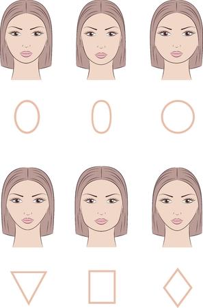 Vektor-Illustration von Frauen ins Gesicht. Verschiedene Gesichtsformen Vektorgrafik