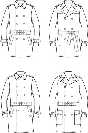 the trench: Vector illustration of mens double-breasted trench coat