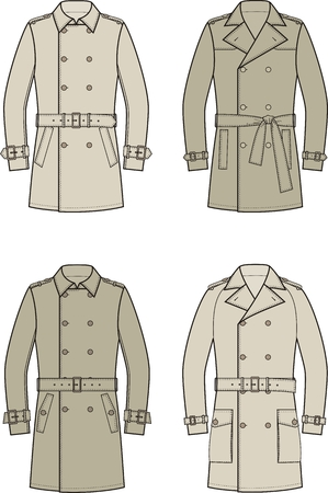 trench coat: Vector illustration of mens double-breasted trench coat