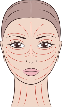 woman face cream: illustration of womens face with massage lines