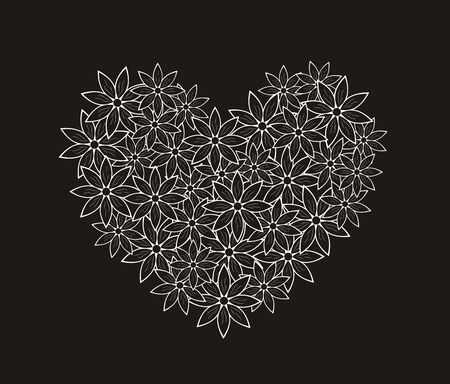 graphic pattern: illustration of decorative heart with flowers