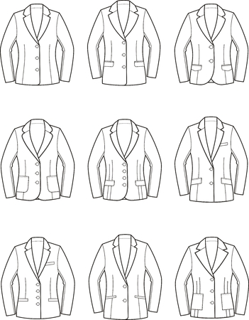 pocket size: Set of womens business jackets Illustration