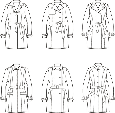 garment: Set of womens trench coats