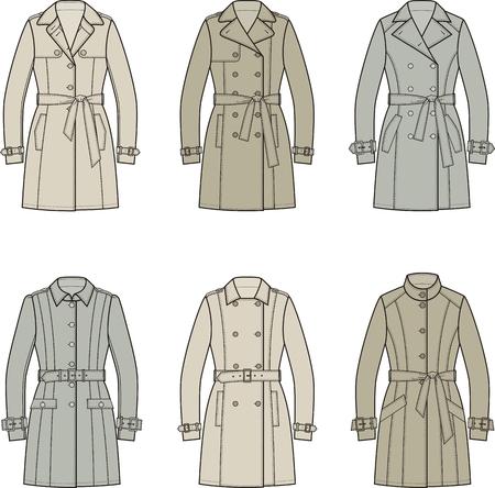 femme dessin: Ensemble de manteaux pour femmes de tranchées