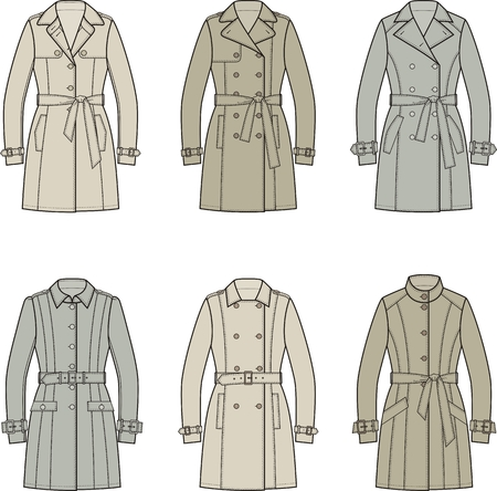 trench: Set of womens trench coats