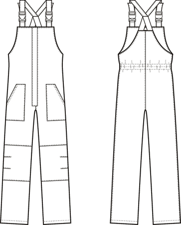 suspender: illustration of winter work overalls with braces. Front and back views Illustration
