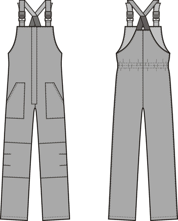 garments: illustration of winter work overalls with braces. Front and back views Illustration