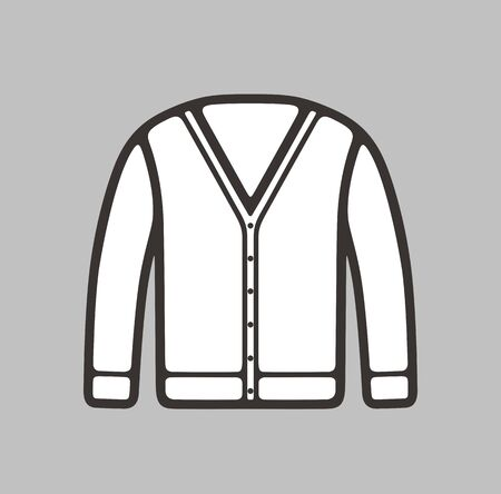 cardigan: illustration of mens cardigan icon on background