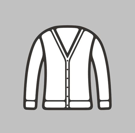 cardigan: illustration of womens cardigan icon on background