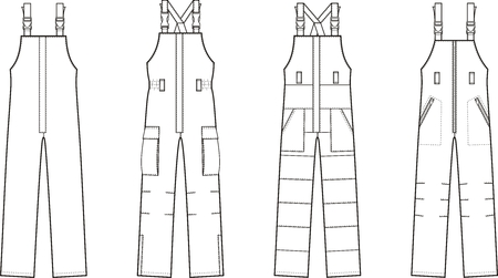 garment: illustration of winter work overalls with braces