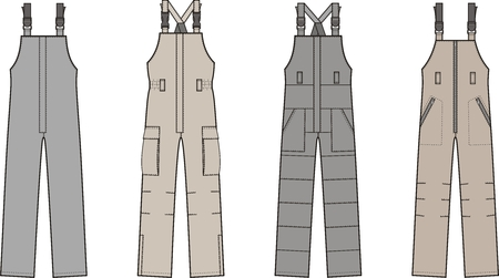 illustration of winter work overalls with braces