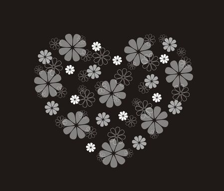 white heart: illustration of decorative heart with flowers