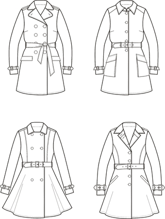 the trench: illustration. Set of womens trench coats