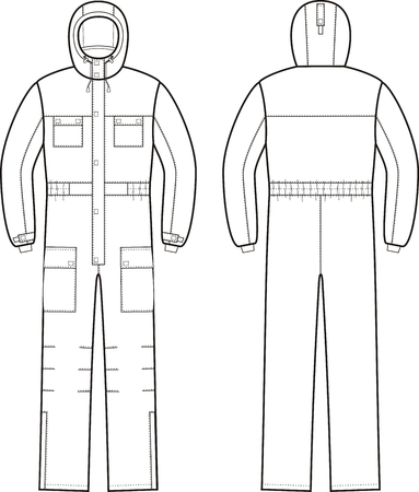pocket size: illustration of winter work overalls with hood. Front and back views Illustration