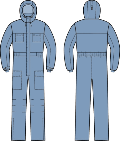 overalls: illustration of winter work overalls with hood. Front and back
