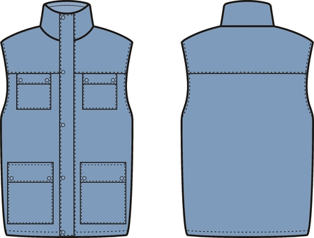 pocket: illustration of winter work waistcoat. Front and back views