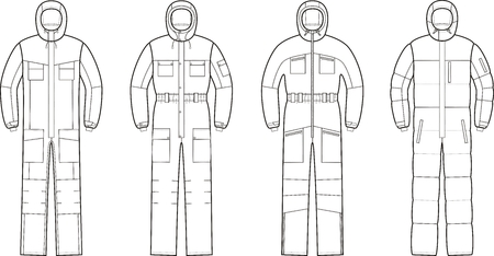 overalls: illustration of winter work overalls with hood
