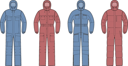 appearance: illustration of winter work overalls with hood