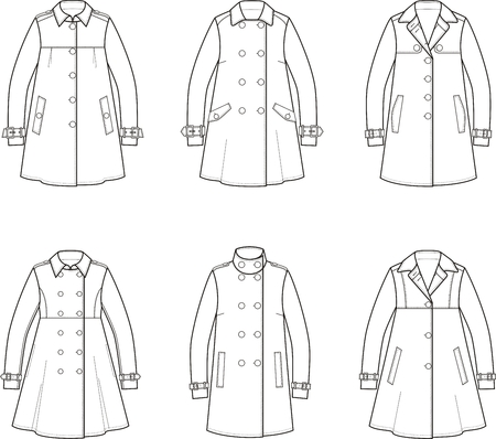 cape: illustration. Set of womens trench coat Illustration