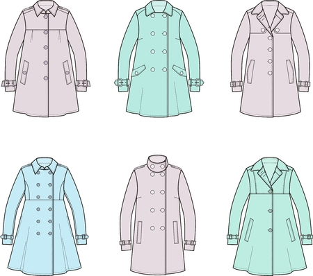double breasted: illustration. Set of womens trench coat Illustration
