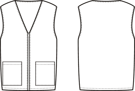 garment: illustration of winter work waistcoat. Front and back views