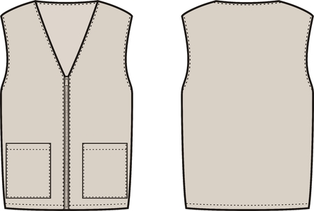 pocket size: illustration of winter work waistcoat. Front and back views