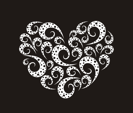 illustration of decorative heart with spirals