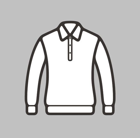 woman white shirt: illustration of polo jumper icon on background Illustration