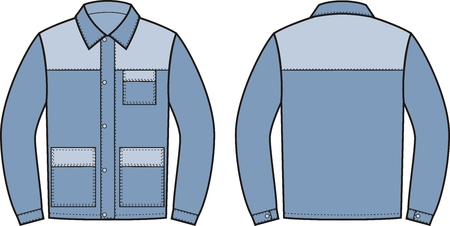 pocket size: illustration of work jacket. Front and back views