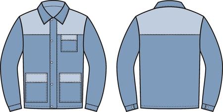 pocket size: illustration of work jacket. Front and back views
