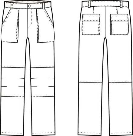 illustration of work pants. Front and back views