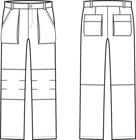 ilustración de pantalones de trabajo. vistas frontal y posterior