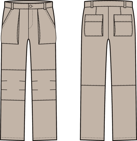 ilustracja spodnie robocze. Widoki z przodu iz tyłu