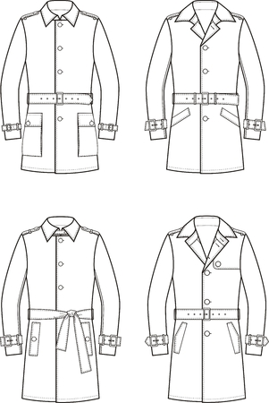 illustration. Set of mens trench coat Illustration