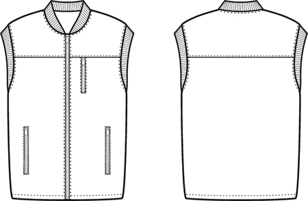 apparel: illustration of winter work waistcoat. Front and back views