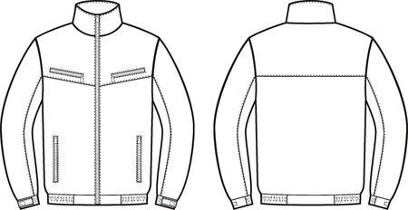 Illustrazione di vettore di giacca lavoro. vista anteriore e posteriore