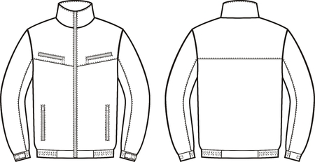 Vector illustration of work jacket. Front and back views